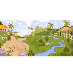 Village flat landscape composition vector