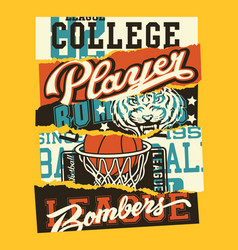 Vintage american college sporting labels patchwork vector