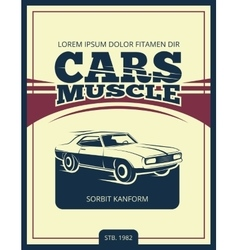 Vintage poster with retro car 70s vector