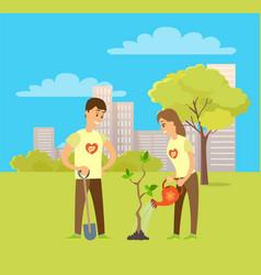 Volunteers plant tree in city park people vector