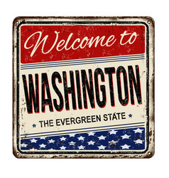 Welcome to washington vintage rusty metal sign vector