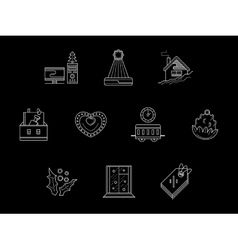 White line Christmas holidays icons vector image