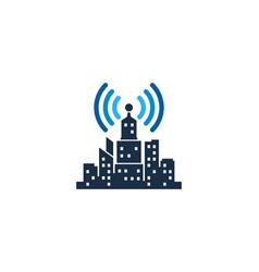 wifi town logo icon design vector image