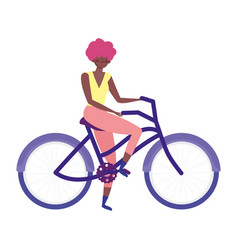 young woman riding bicycle recreational isolated vector image