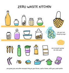 Zero waste kitchen doodle icons set vector