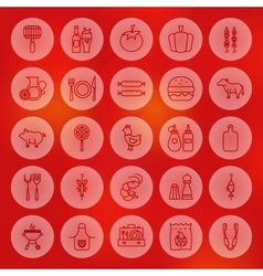 Line Circle Barbecue Icons vector image vector image
