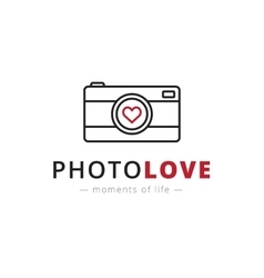line style camera logo Brand sign vector image
