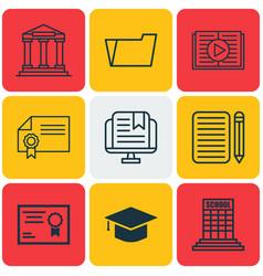 set of 9 school icons includes graduation vector image vector image