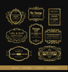 vinage gold retro logo frame badge design element vector image vector image