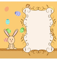 cartoon greeting card with easter congratulation vector image