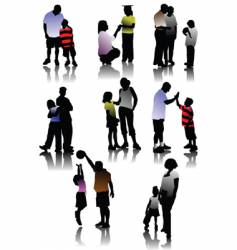 children with parents vector image vector image