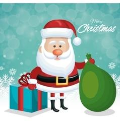 merry christmas card santa with gift and green bag vector image vector image