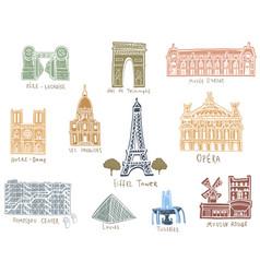 paris city sights vector image vector image