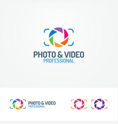 Photo and video logo set with aperture vector