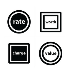 Price tags label set circles and squares vector