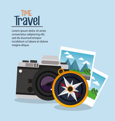 time travel photo camera compass navigation vector image
