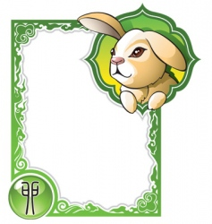 chinese horoscope frame series rabbit vector image vector image