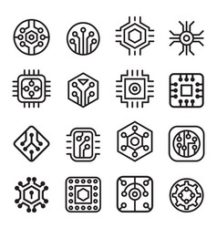 computer chips and electronic circuit icons in vector image