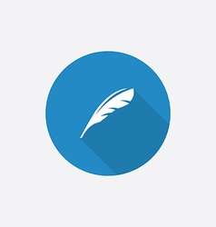feather Flat Blue Simple Icon with long shadow vector image vector image