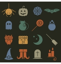Halloween colorful flat icons set vector image