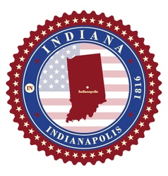 Label sticker cards of State Indiana USA vector image