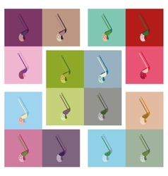 Modern flat icons collection soup ladle vector