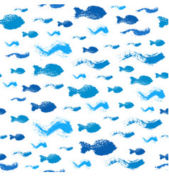painted fish waves pattern background vector image