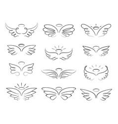 sketch angel wings in cartoon style vector image
