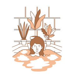 woman taking a bath tub with houseplants vector image