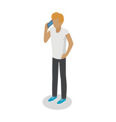young man stands and talks over cellphone on white vector image