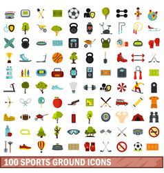 100 sports ground icons set flat style vector image vector image