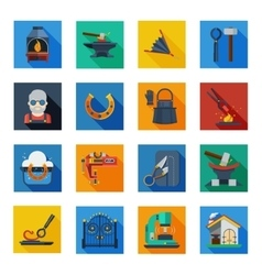 Blacksmith Icons In Colorful Squares vector image
