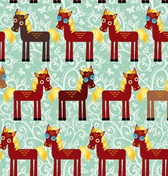 Brown horse on a blue floral background seamless vector image