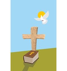 Cross and Bible Christian grave Soul of man in vector image vector image