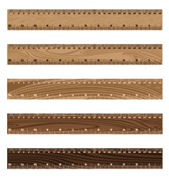 Wooden ruler texture on white background wooden vector