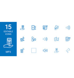 15 mp3 icons vector image