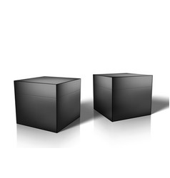 3d black glossy box for jewellery or small gift vector