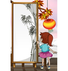 A girl in front of a bamboo painting vector