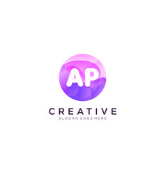 Ap initial logo with colorful circle template vector