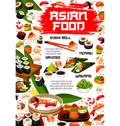 Asian sushi rolls japanese seafood cuisine menu vector