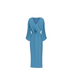 Blue long silk dress vector