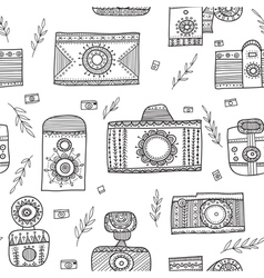 Boho ethnic style vintage cameras seamless pattern vector