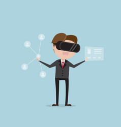 businessman finding people with virtual reality vector image