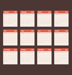 calendar for 2019 starts sunday calendar vector image