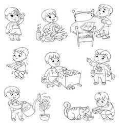 Cartoon kid daily routine activities set vector