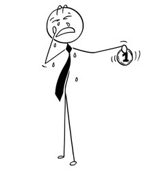 Cartoon of greed businessman crying for coin vector