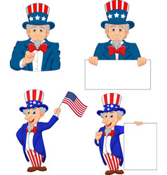 cartoon of uncle sam collection set vector image