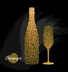 Champagne glass and bottle icon vector