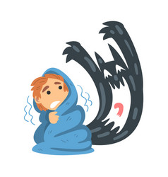 Childhood fear with scary monster frightening vector