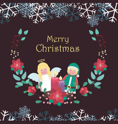 christmas greeting with decor and floral frame vector image